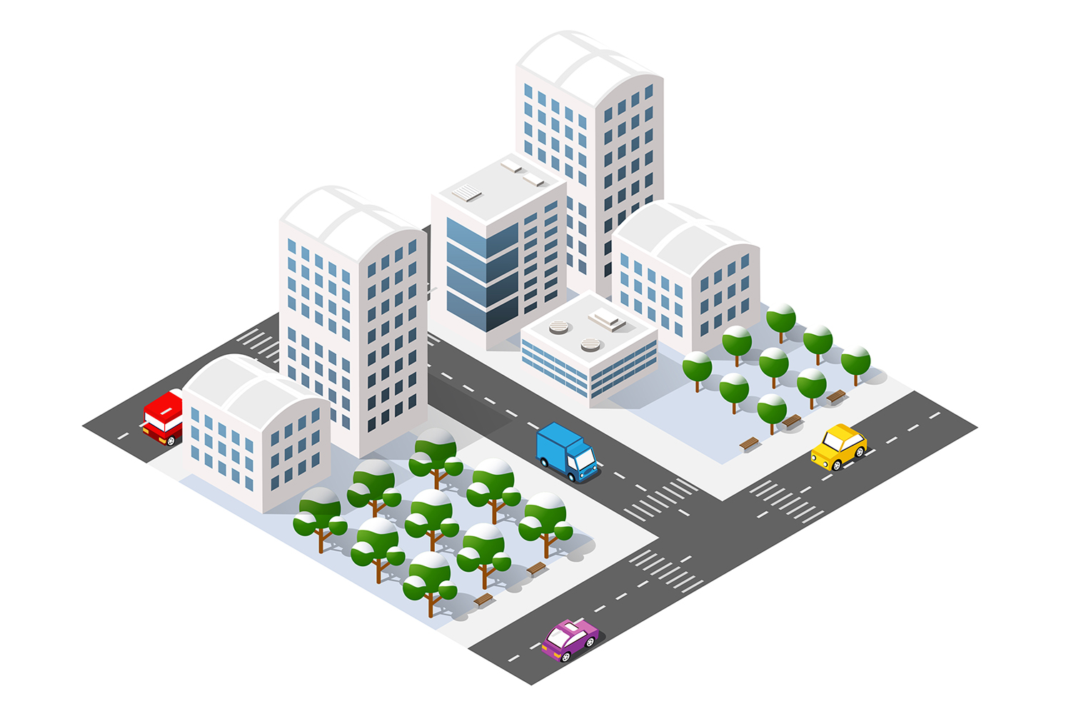 Winter city isometric with buildings example image 1