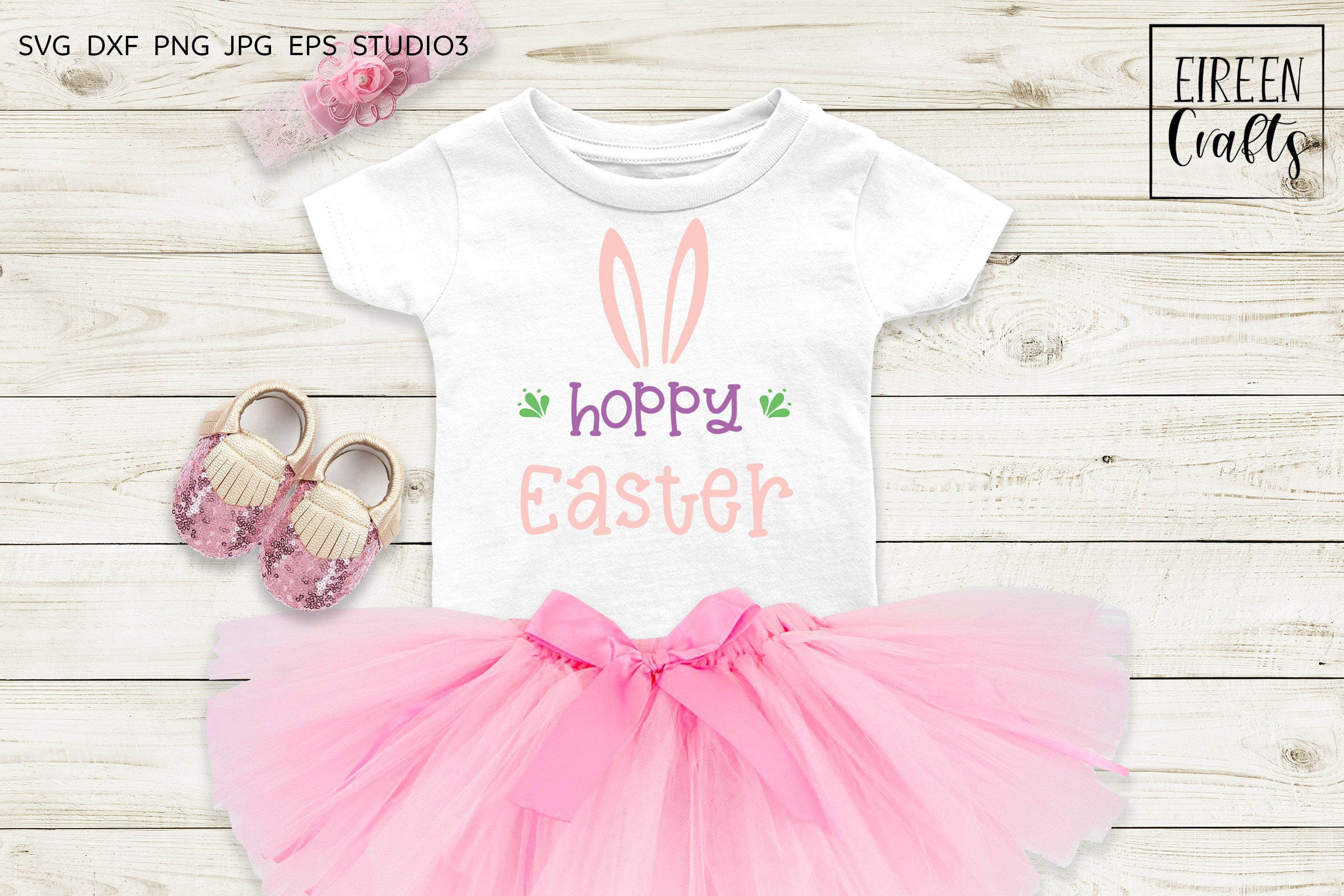 Hoppy Easter SVG - cut file for Cricut & Silhouette example image 1