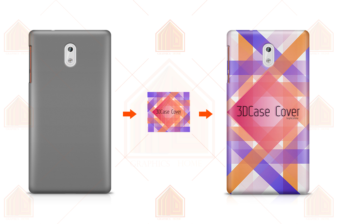 Nokia 3-5-6-8-3D Case Design Mockup Back View example image 2