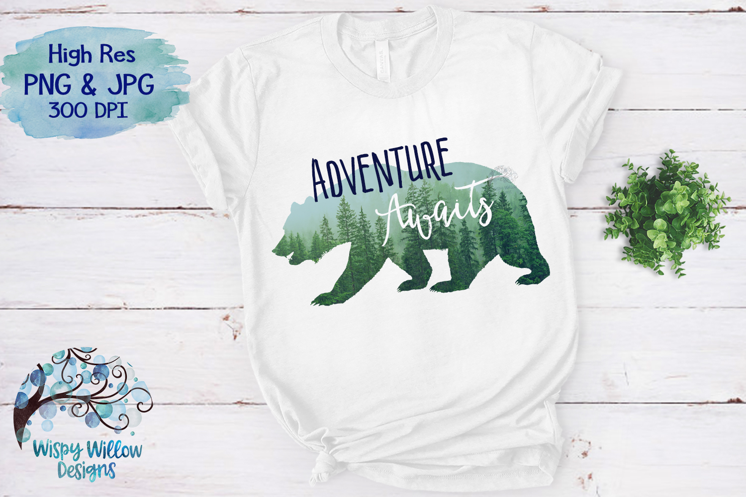 Adventure Awaits | Forest Bear PNG | Sublimation | Clipart example image 3