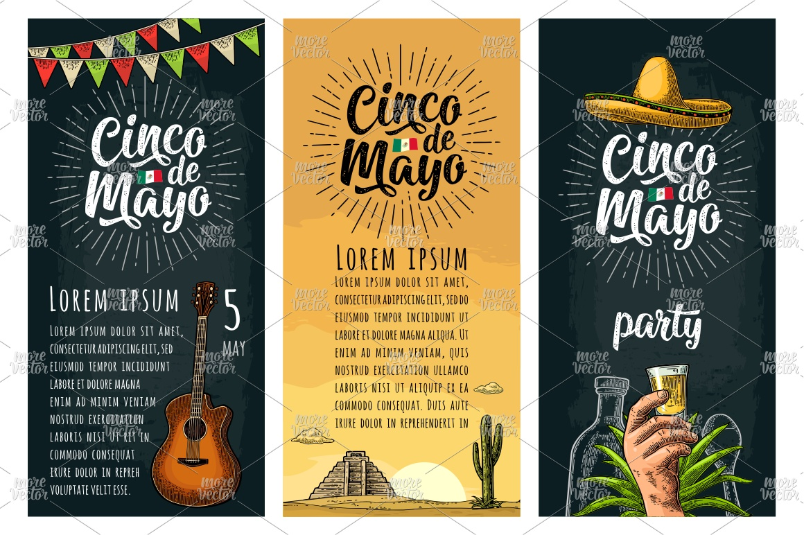 Cinco de Mayo lettering and mexican food. Vector engraving example image 9