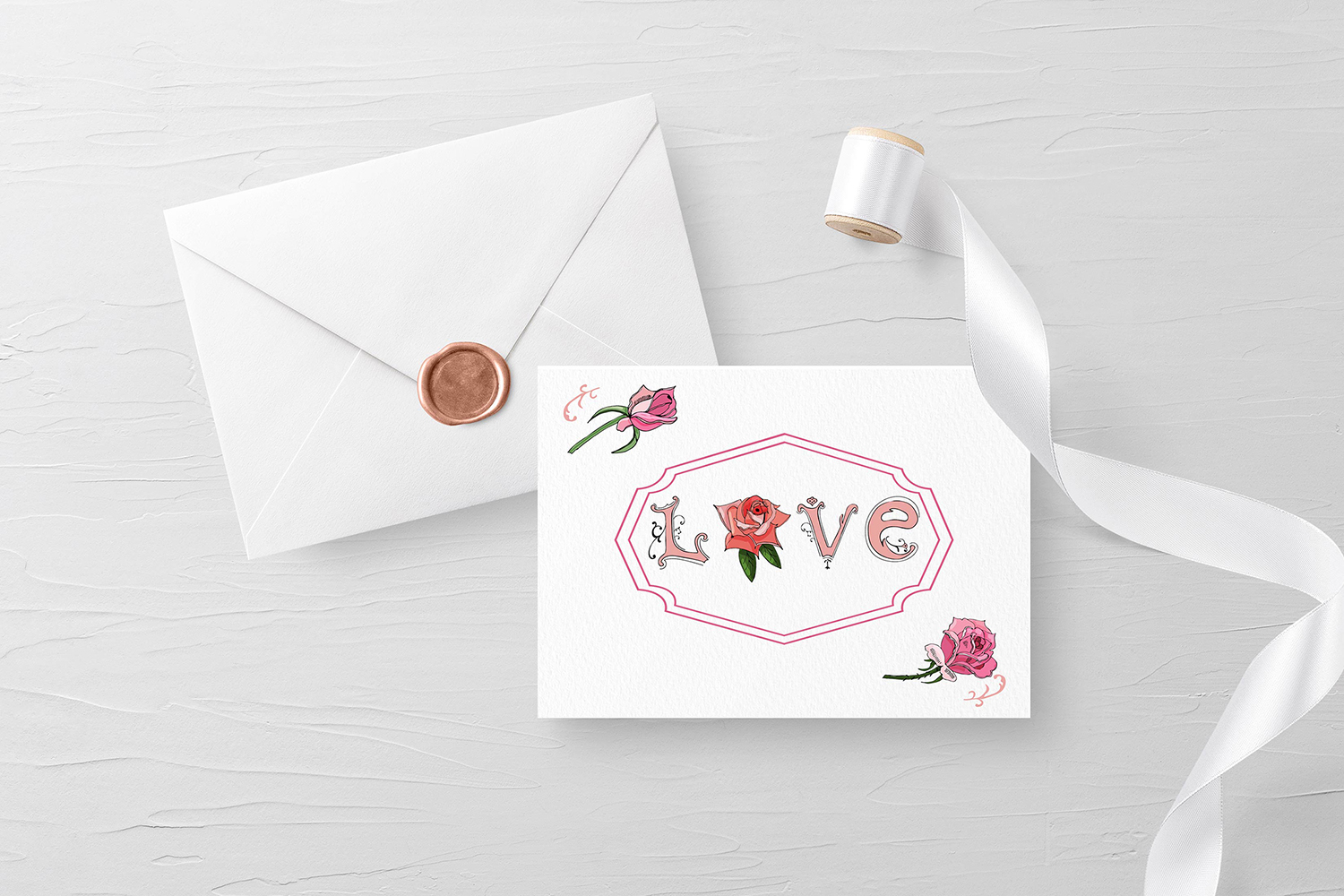 Hand drawn set of letters, roses and frame. Vector. example image 4