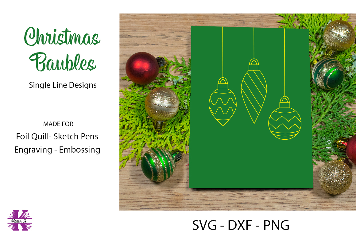 Christmas Baubles SVG for Foil Quill Sketch Pen Embossing example image 1