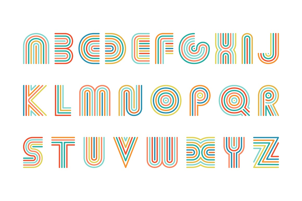 Colorful striped alphabet. example image 4