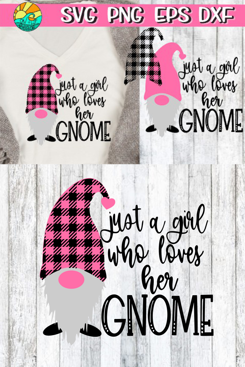 Just A Girl Who Loves Her Gnome- Buffalo Plaid - SVG PNG EPS example image 2