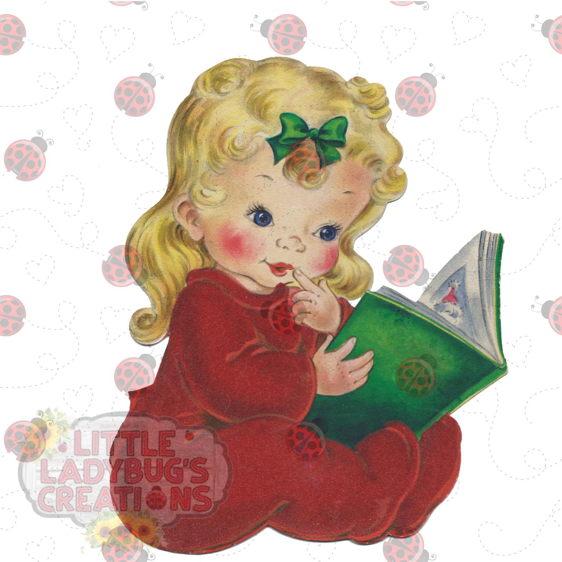 Vintage Pajama Girl 300DPI PNG Printable Digital Design example image 3