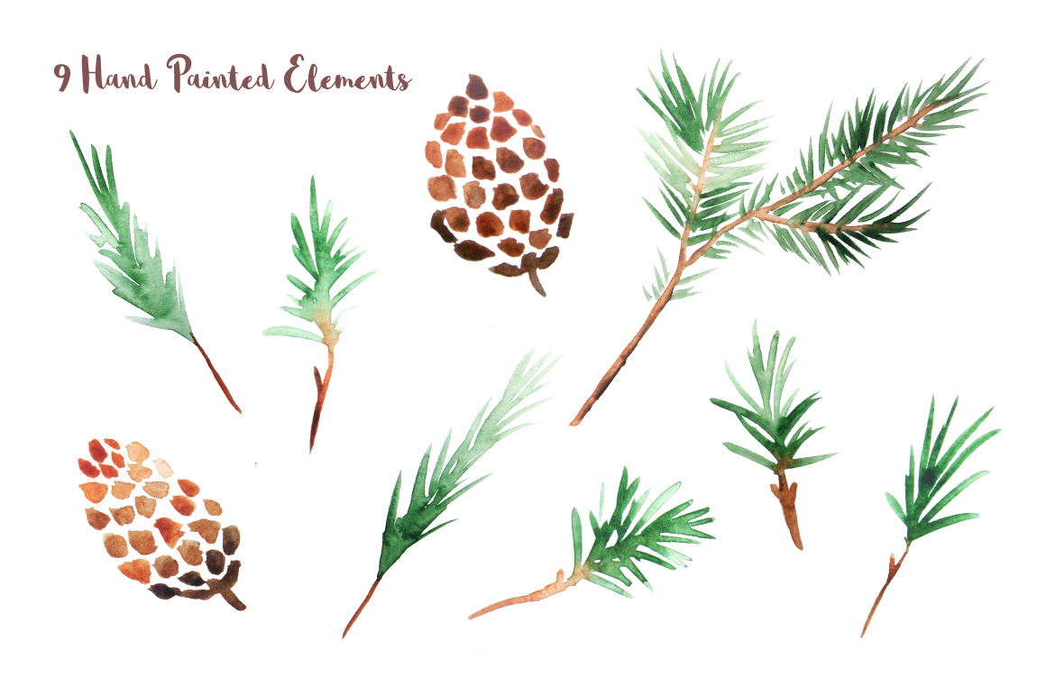 Watercolor Pine Branches Set example image 2