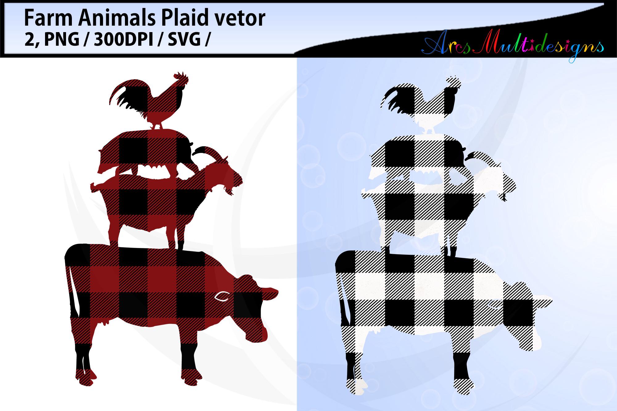 Plaid farm animal svg / plaid farm animal bundle vector example image 1