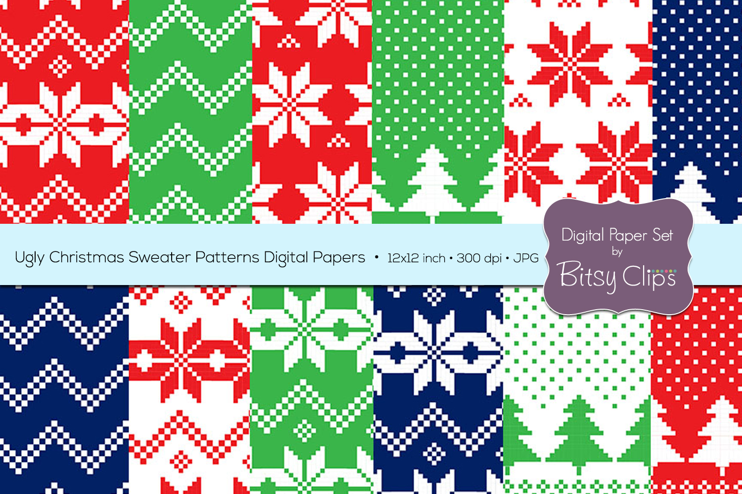Ugly Christmas Sweaters Patterns.Ugly Christmas Sweater Patterns Digital Paper Set Commercial Use Christmas Scrapbook Paper Background Pattern
