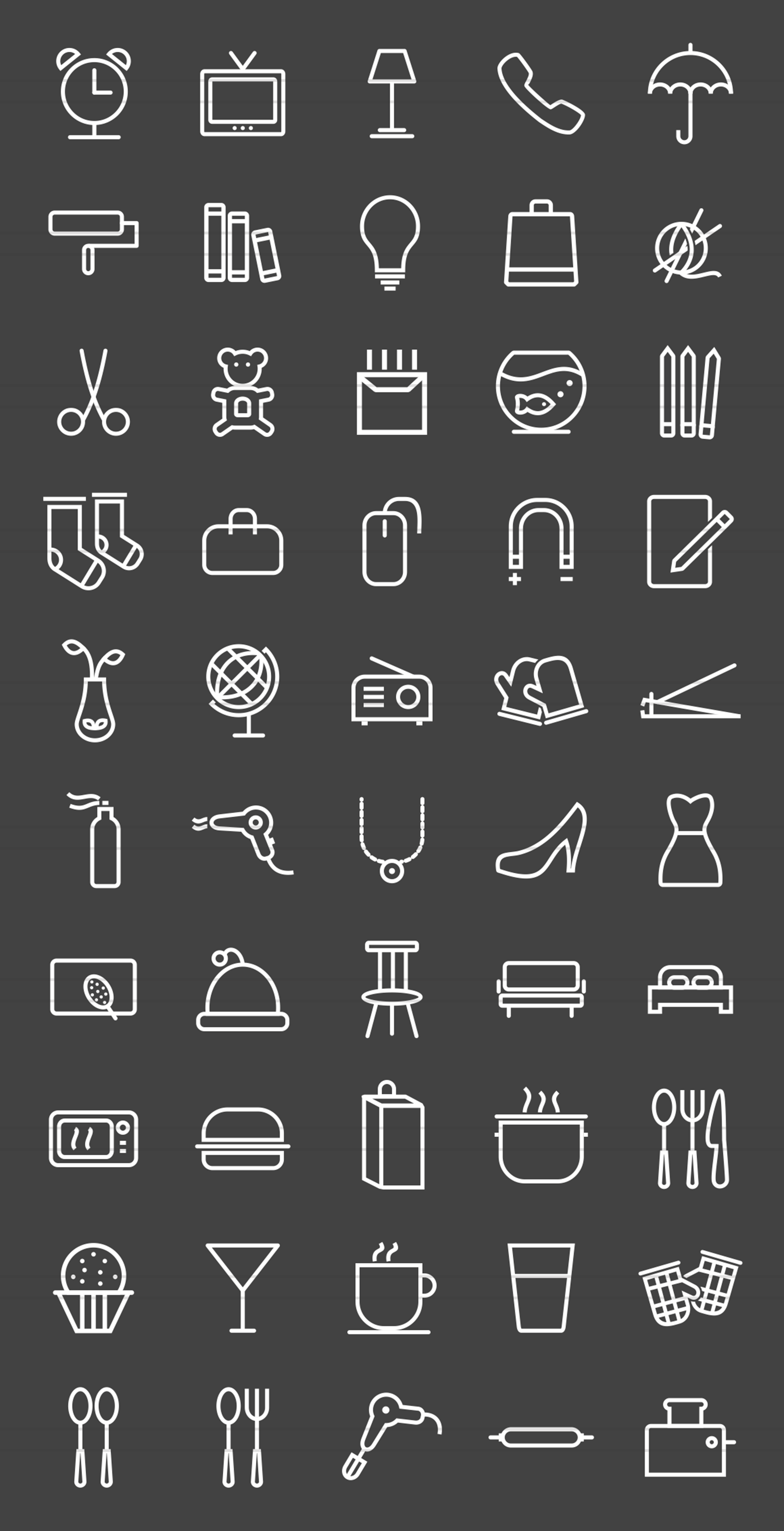 50 Household Objects Line Inverted Icons example image 2