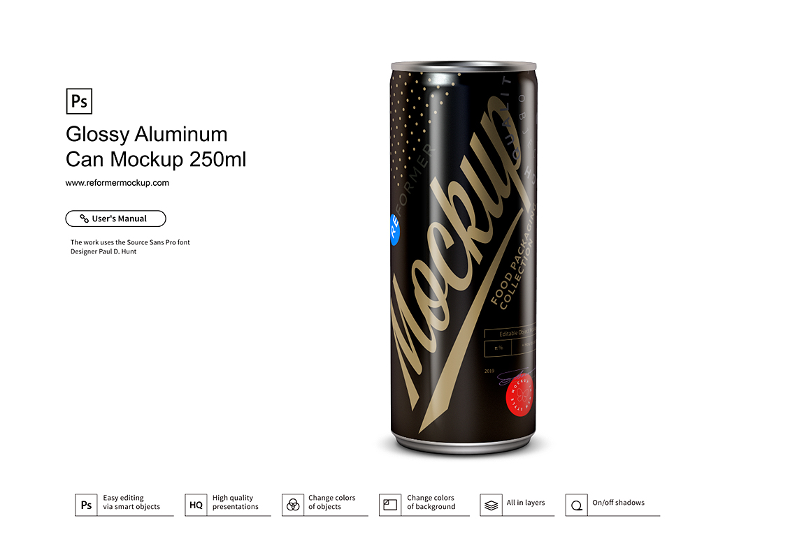 Glossy Aluminum Can Mockup 250ml example image 3