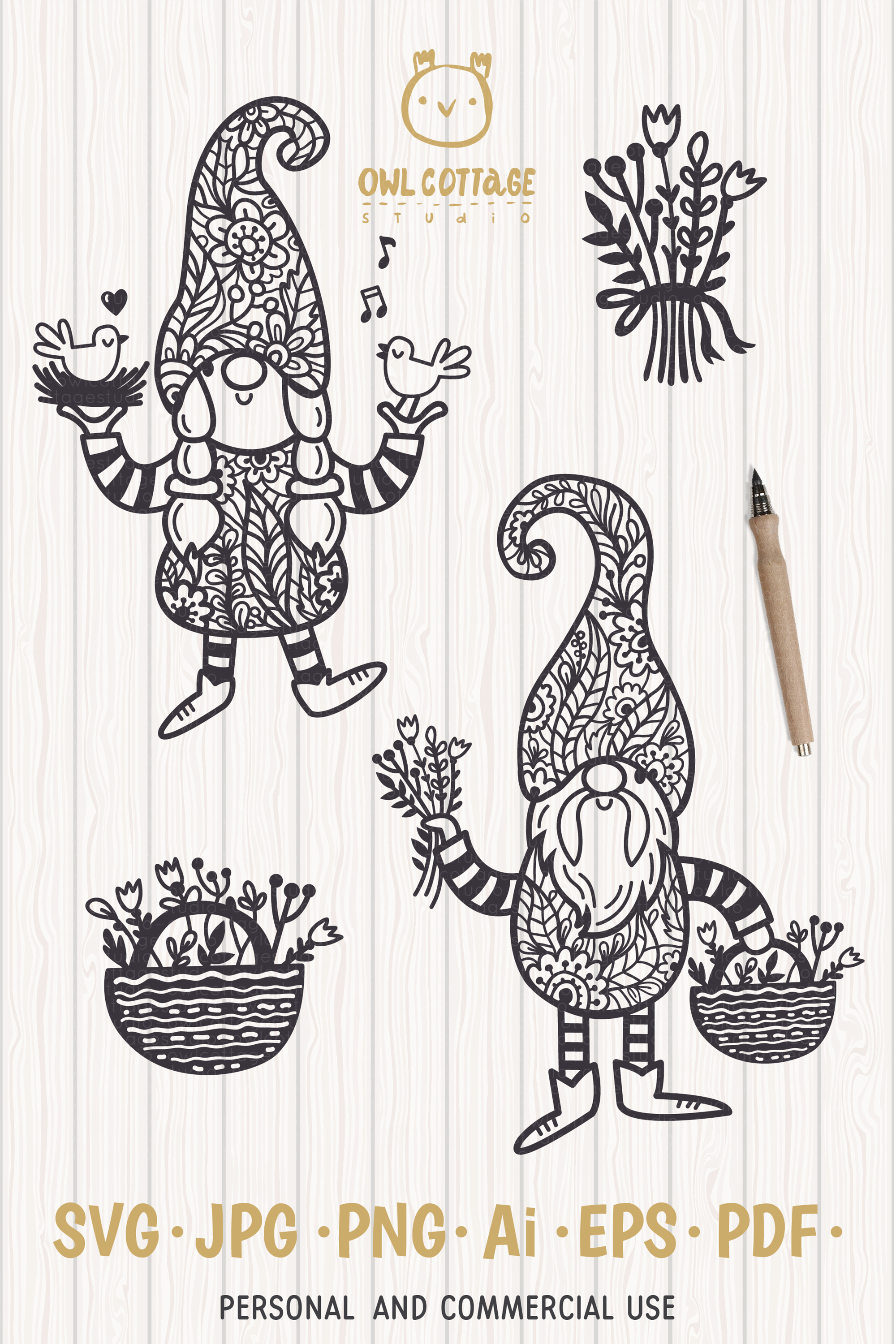 Spring Floral Gnomes SVG, Mr. and Mrs Gnomes, Tomte example image 14