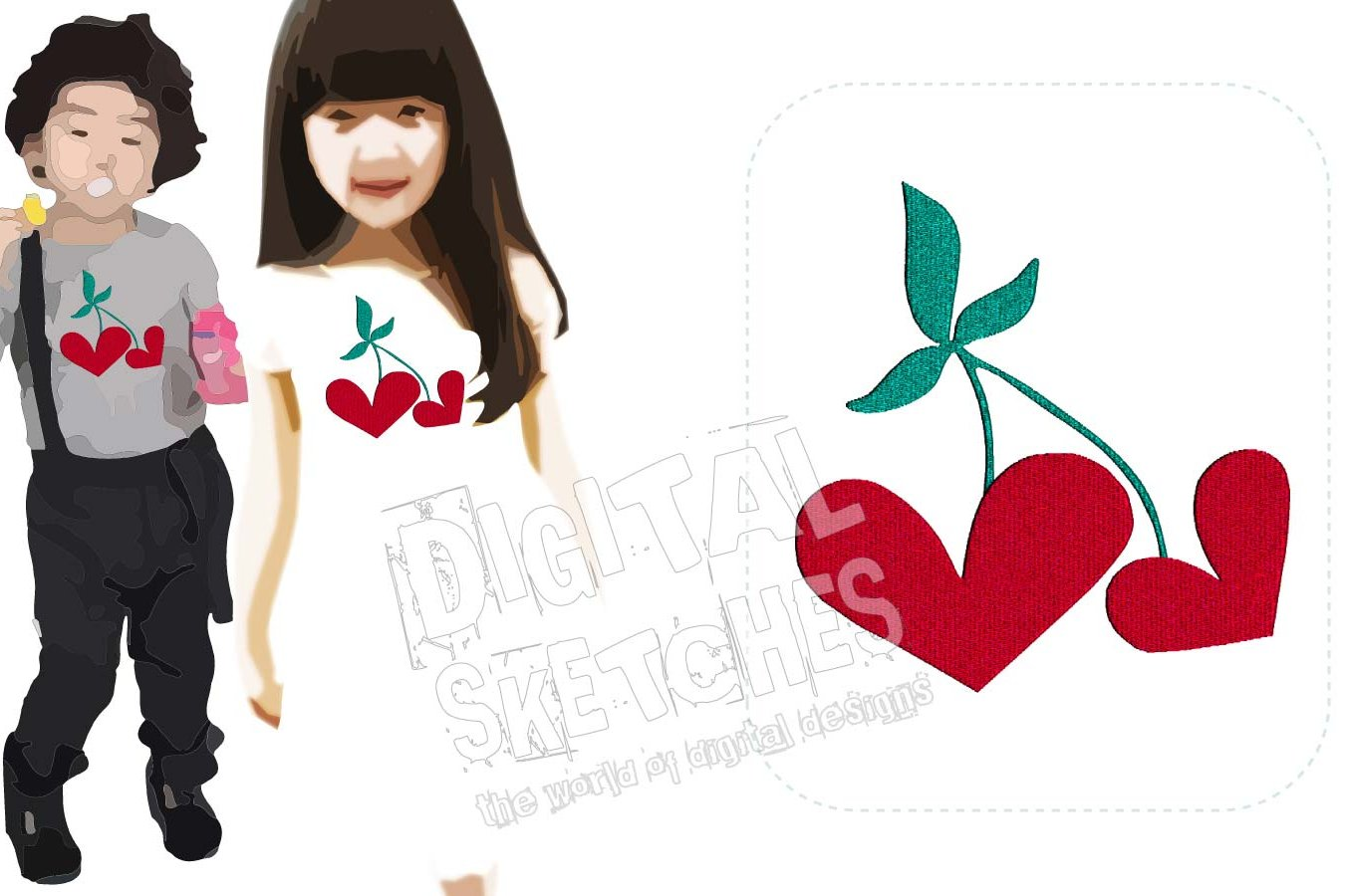 Hearts Cherry Machine Embroidery Design 3 Sizes example image 1