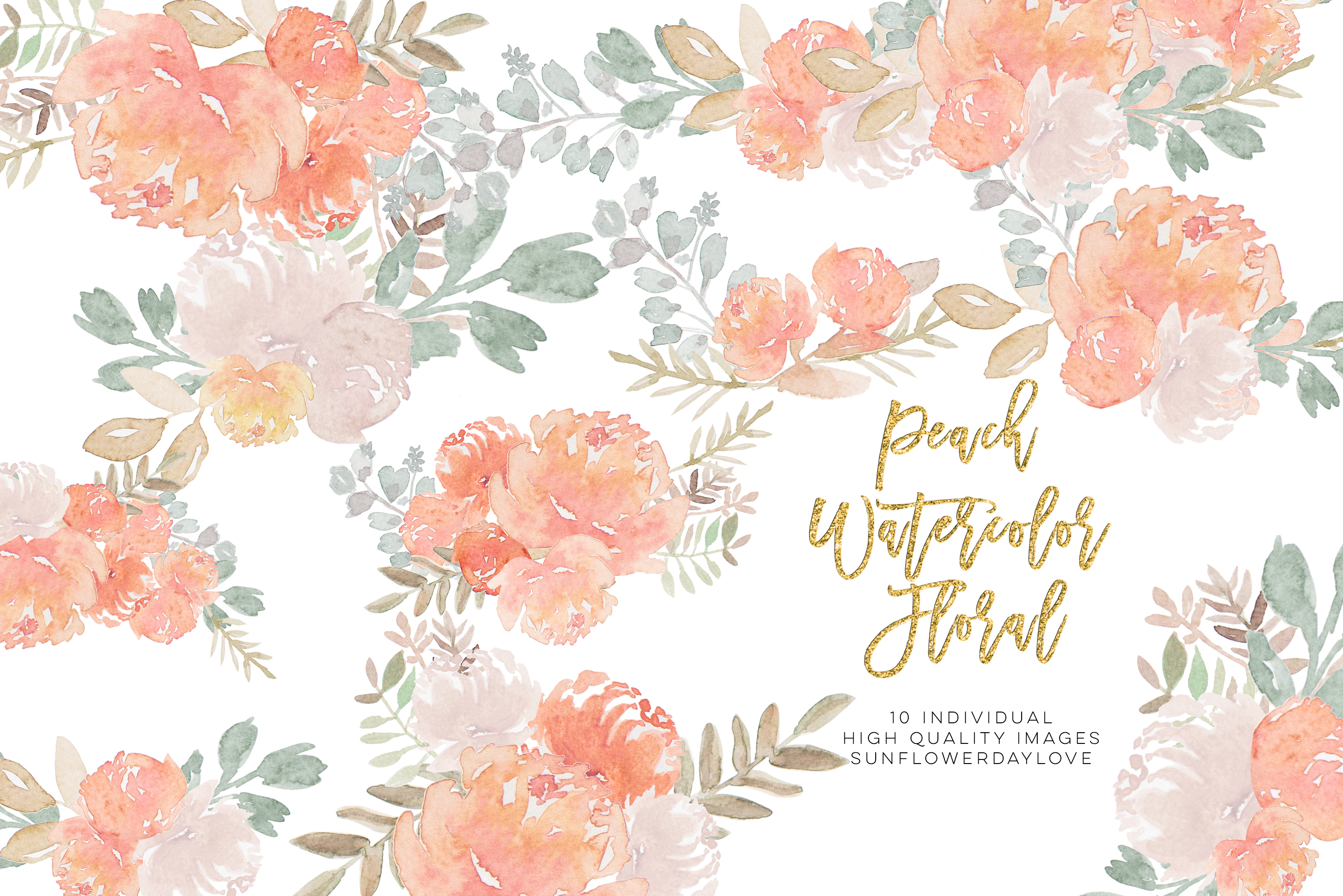 Peony Watercolor Clipart, pastel floral Watercolor Clipart, example image 2