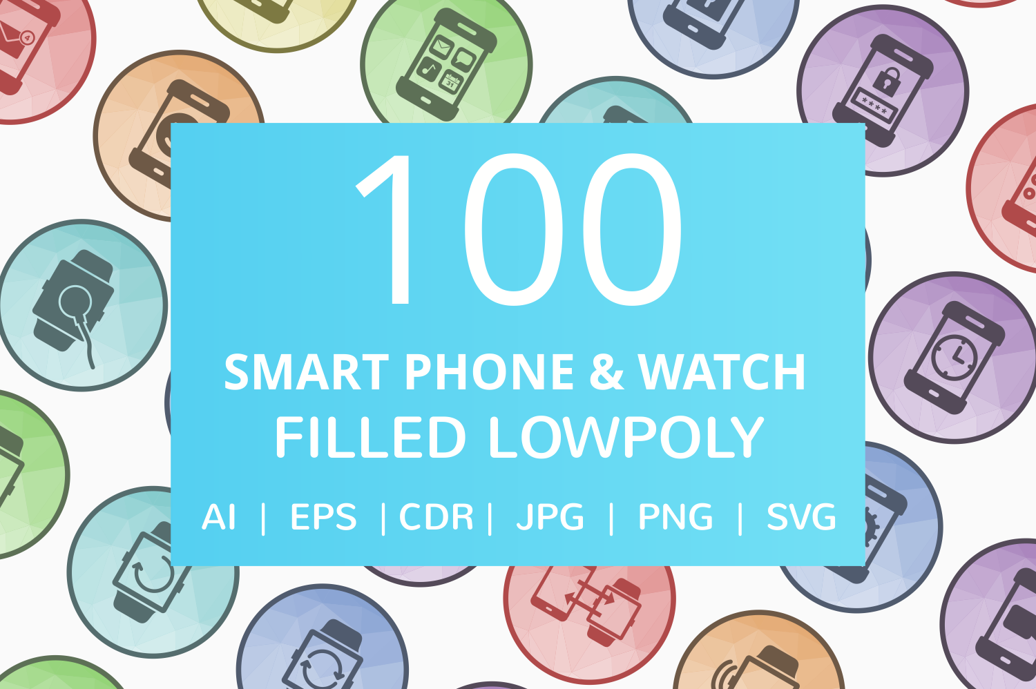100 Smartphone & Smartwatch Filled Low Poly Icons example image 1