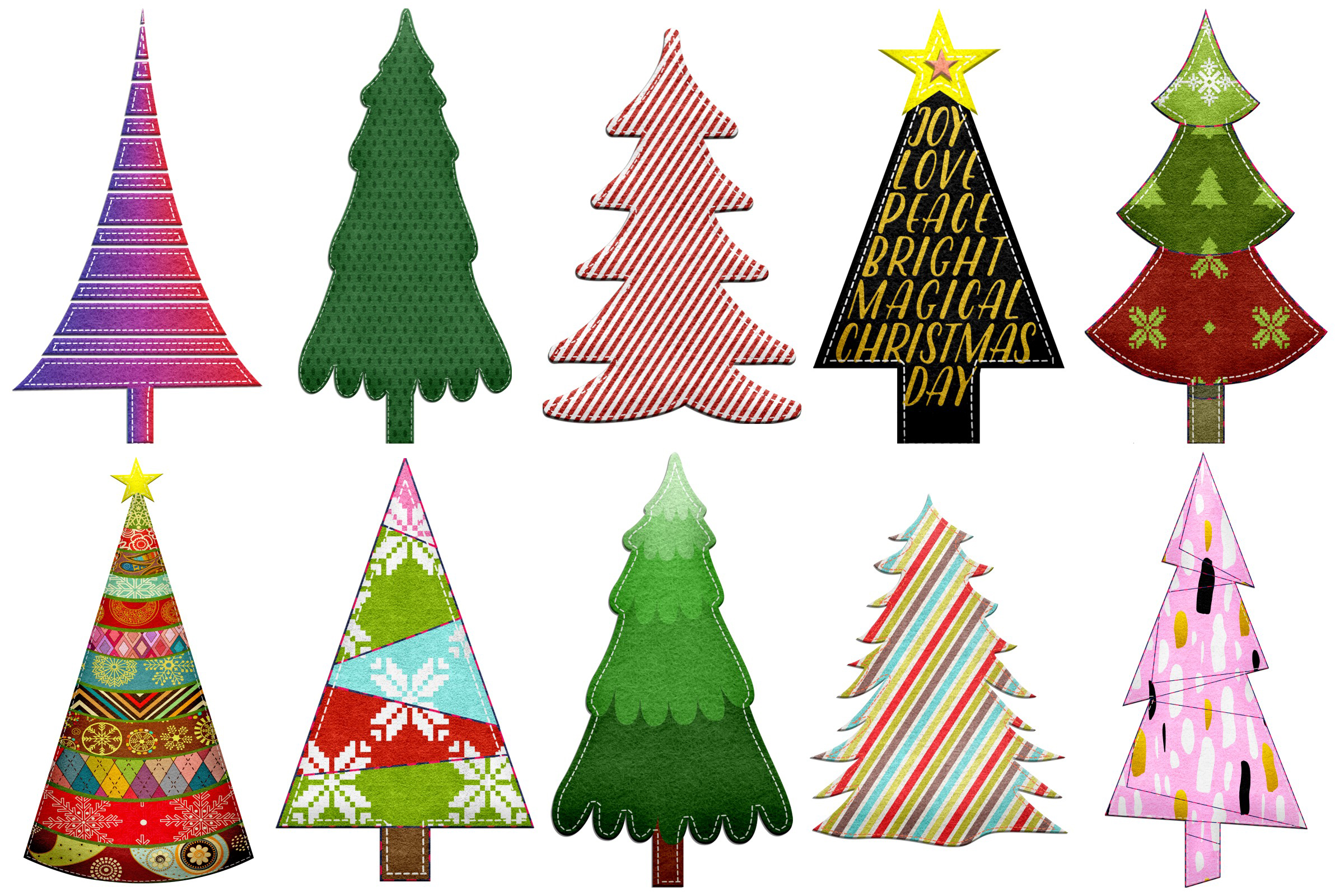 Christmas Felted Trees Clip Art example image 2