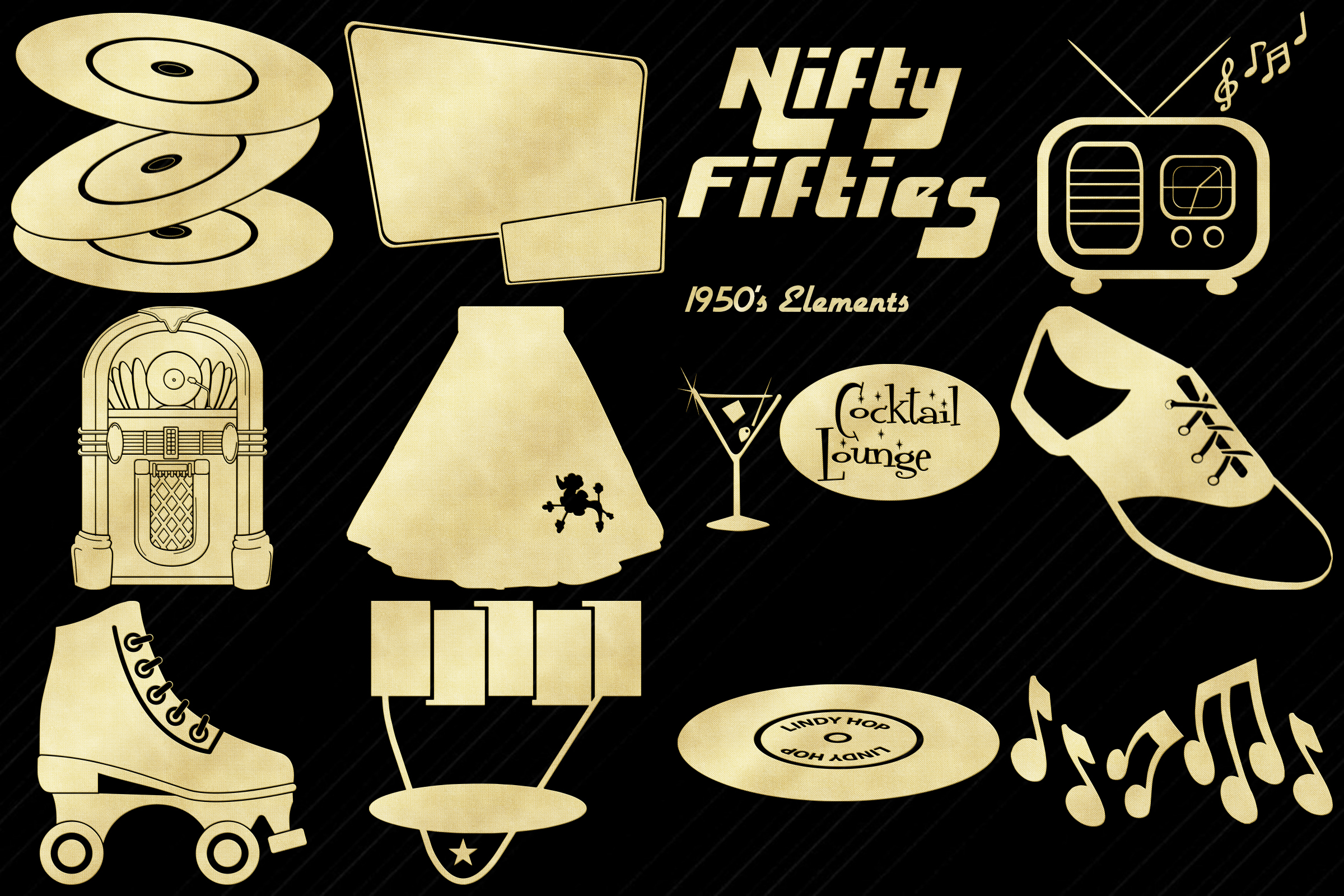 Retro 1950s Gold Foil Life and Party ClipArt example image 4