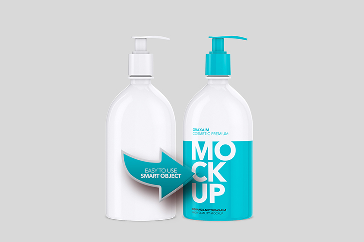 Shampoo Bottle with Lotion Pump 500ml - Mockup example image 3