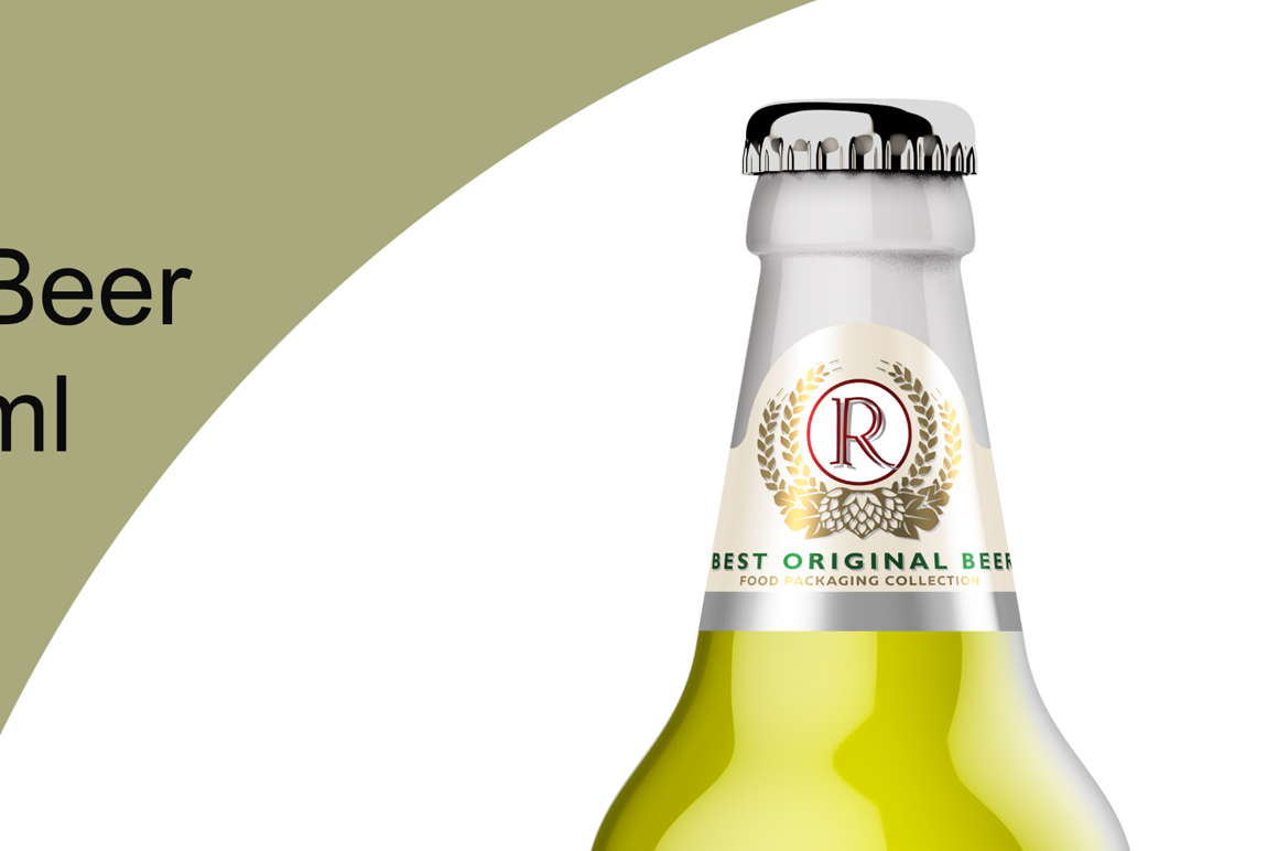 Clear Glass Lager Beer Bottle Mockup 500ml example image 5