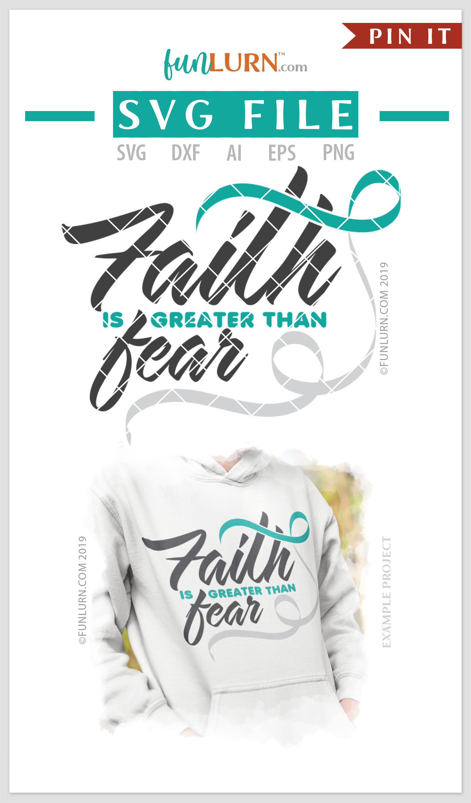 Faith is Greater Than Fear Teal and White Ribbon SVG example image 4
