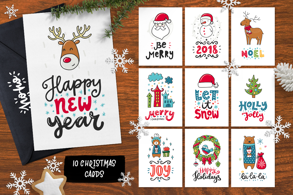 610+ Christmas Doodles - Clipart Set example image 7