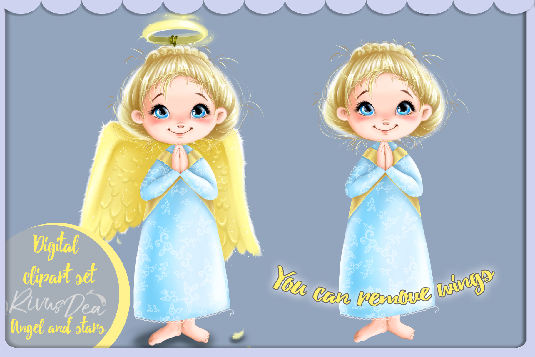 Cute Angel girl with moon and stars Christmas clipart kit example image 2