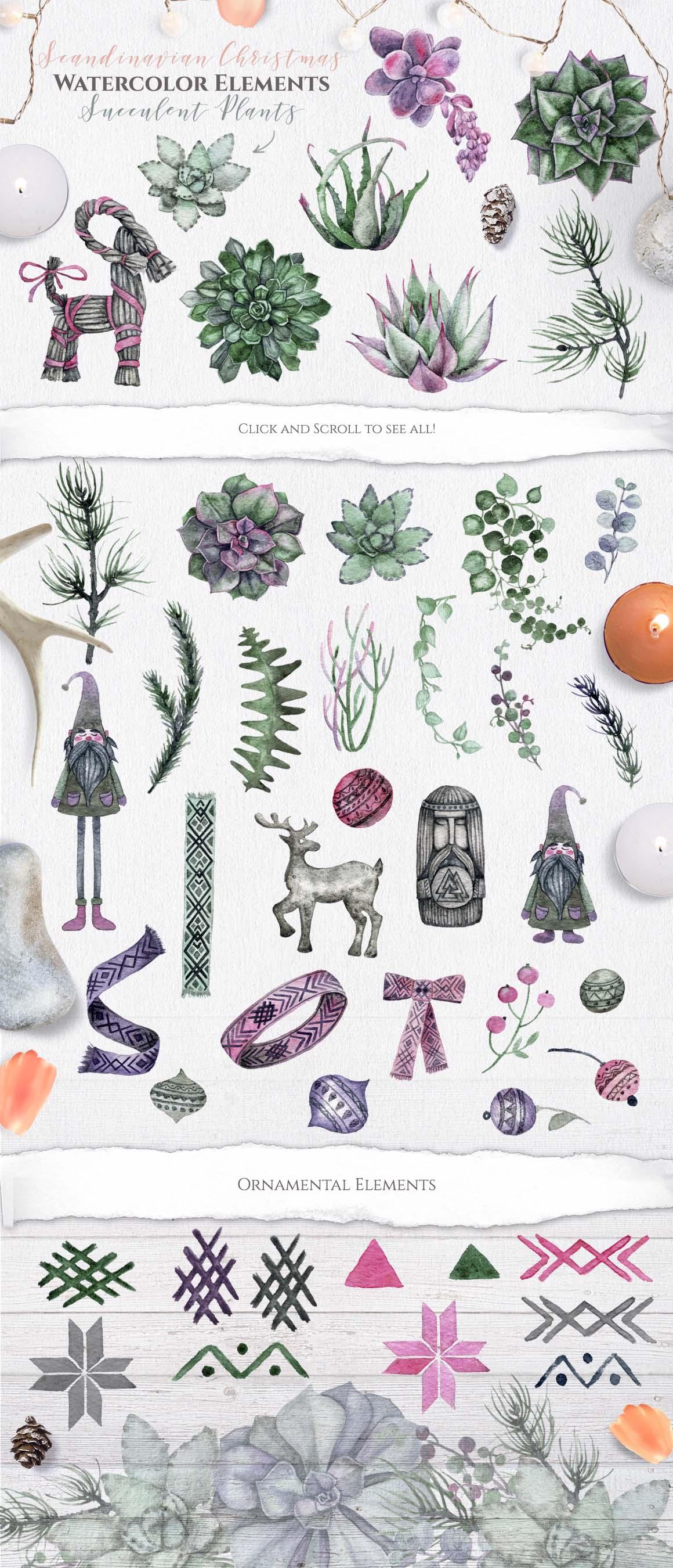 Watercolor Scandinavian Succulents example image 8