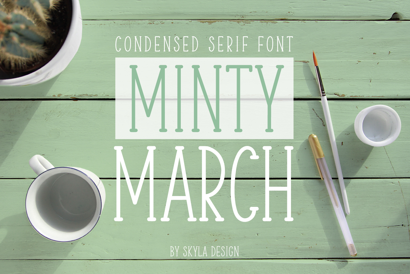 Skinny, condensed serif font, Minty March example image 1