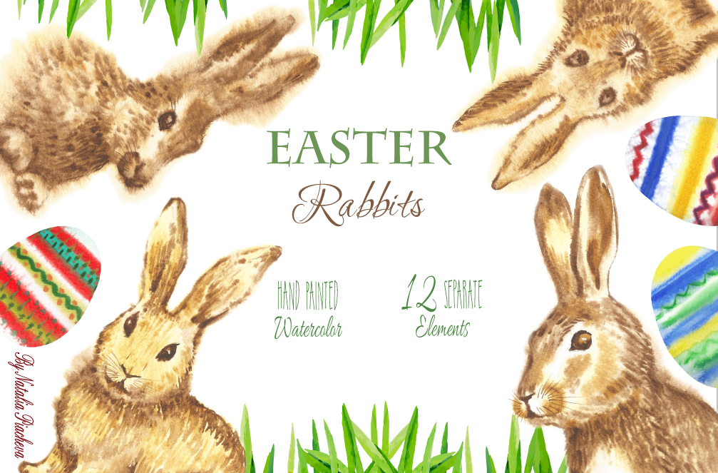 Clipart with Easter Rabbits example image 1