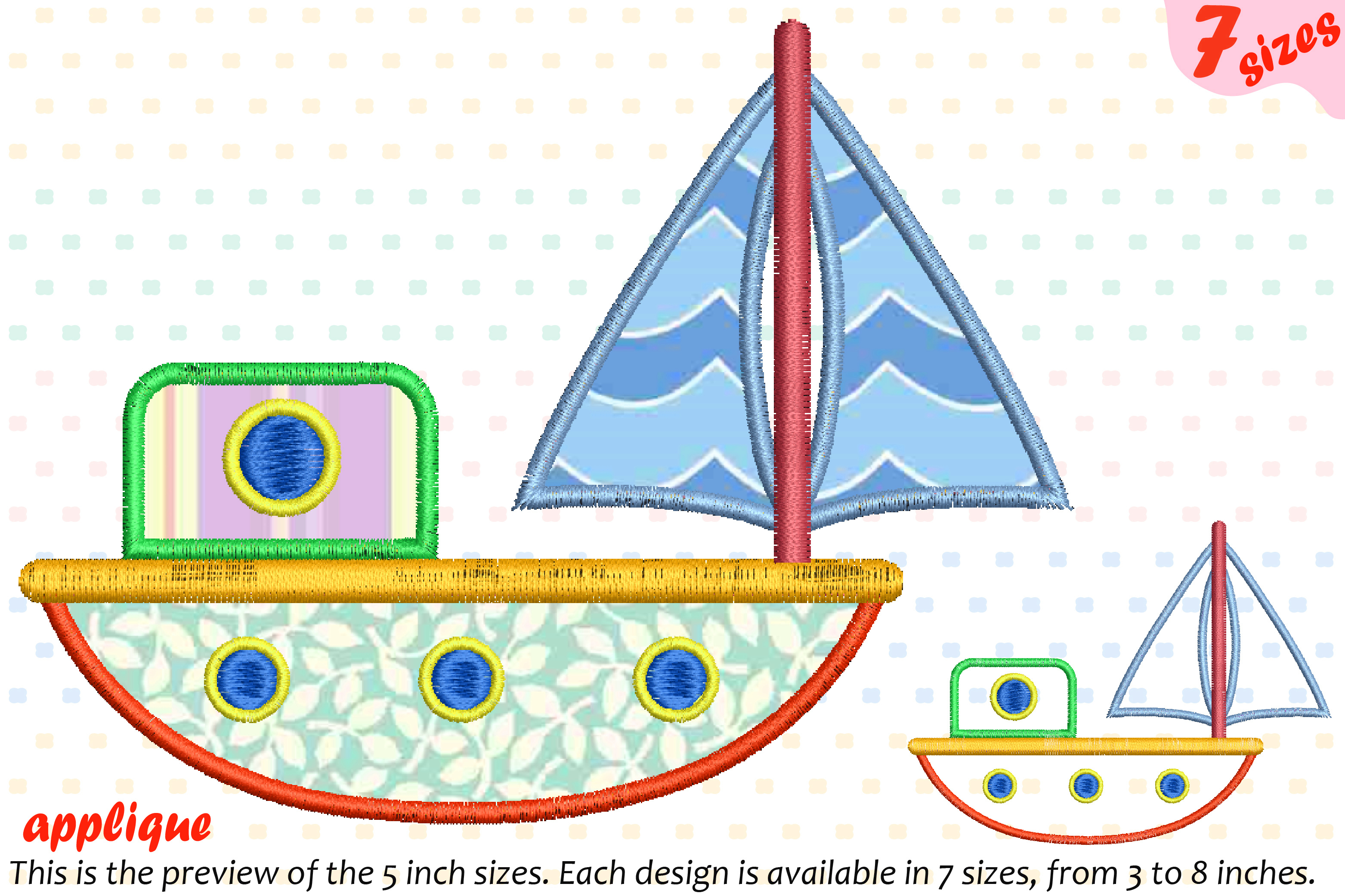 Sailboat Toy Applique Designs for Embroidery Machine Instant Download Commercial Use symbol outline cartoon boat toys yacht ship 19a example image 1