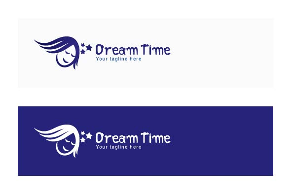 Dream Time - Sleeping Kid Stock Logo Template example image 2