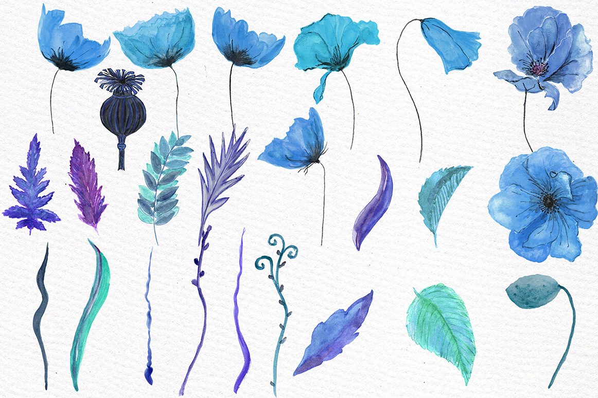Watercolor Blue flowers clipart example image 2