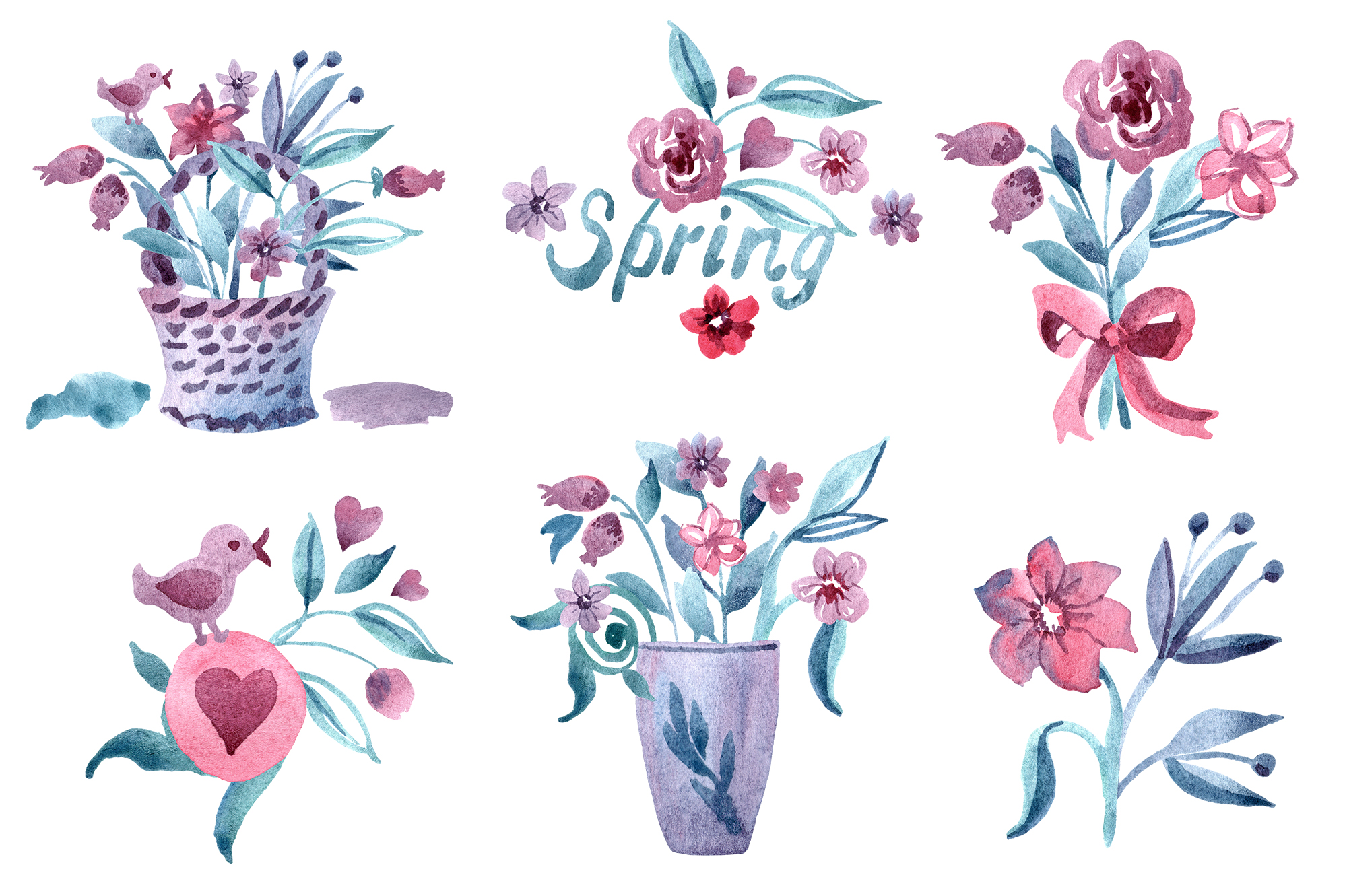 Watercolor spring flower set example image 3