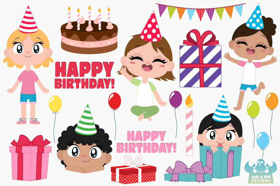 Birthday Party Girls 3 Clipart, Instant Download Vector Art example image 2