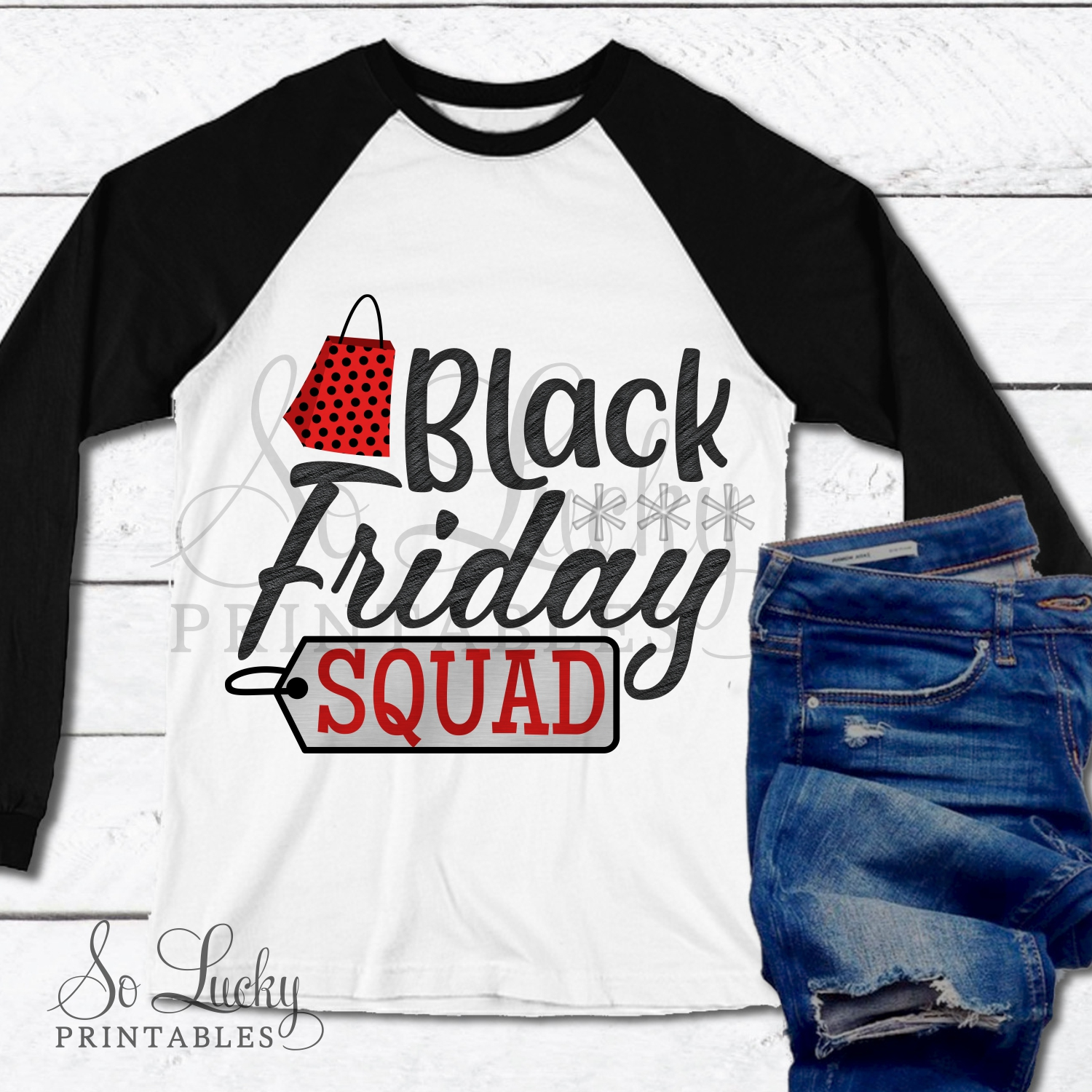 Black Friday Squad watercolor sublimation design example image 2