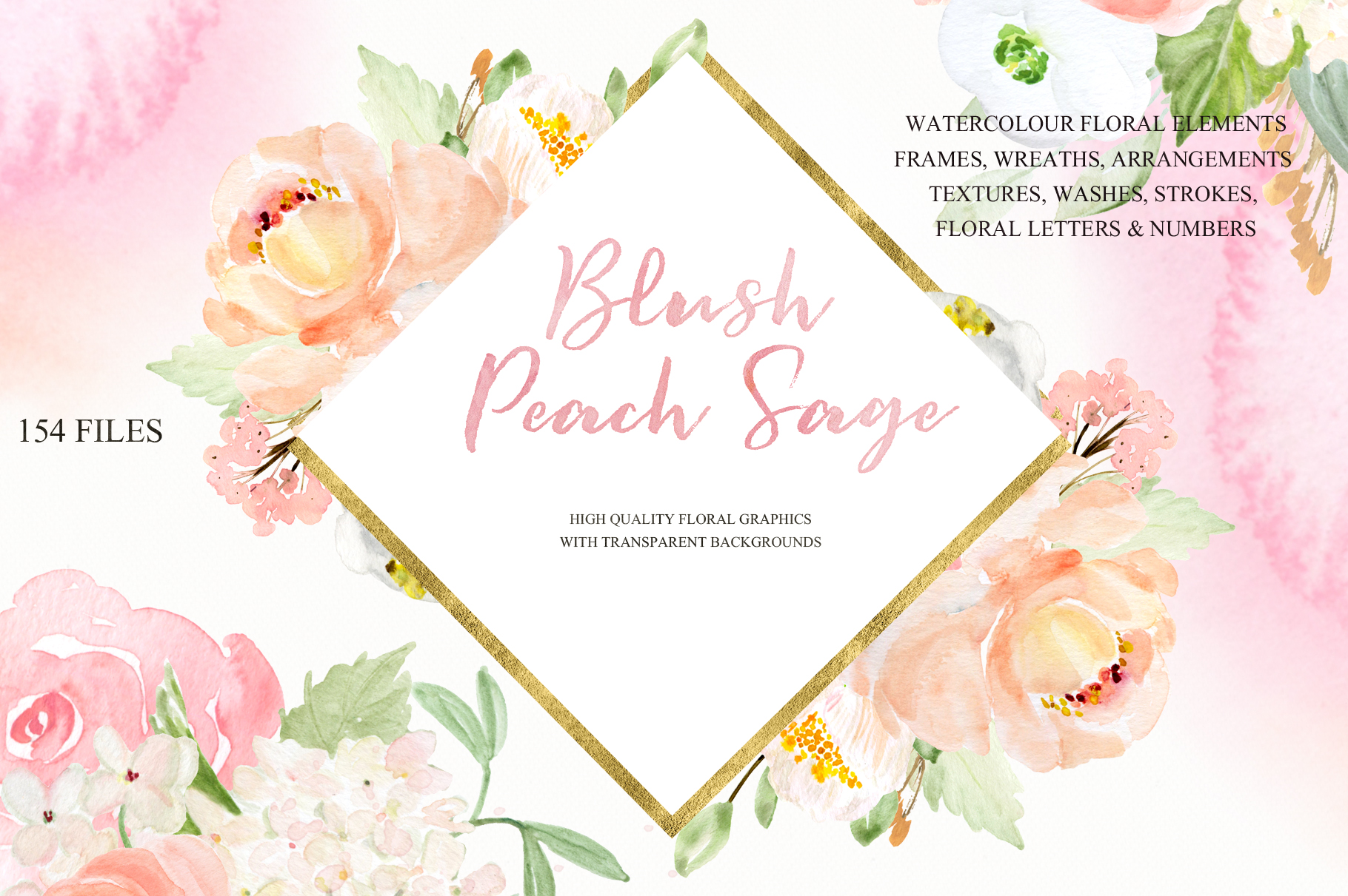 Blush Peach Sage Watercolor flowers clipart example image 4