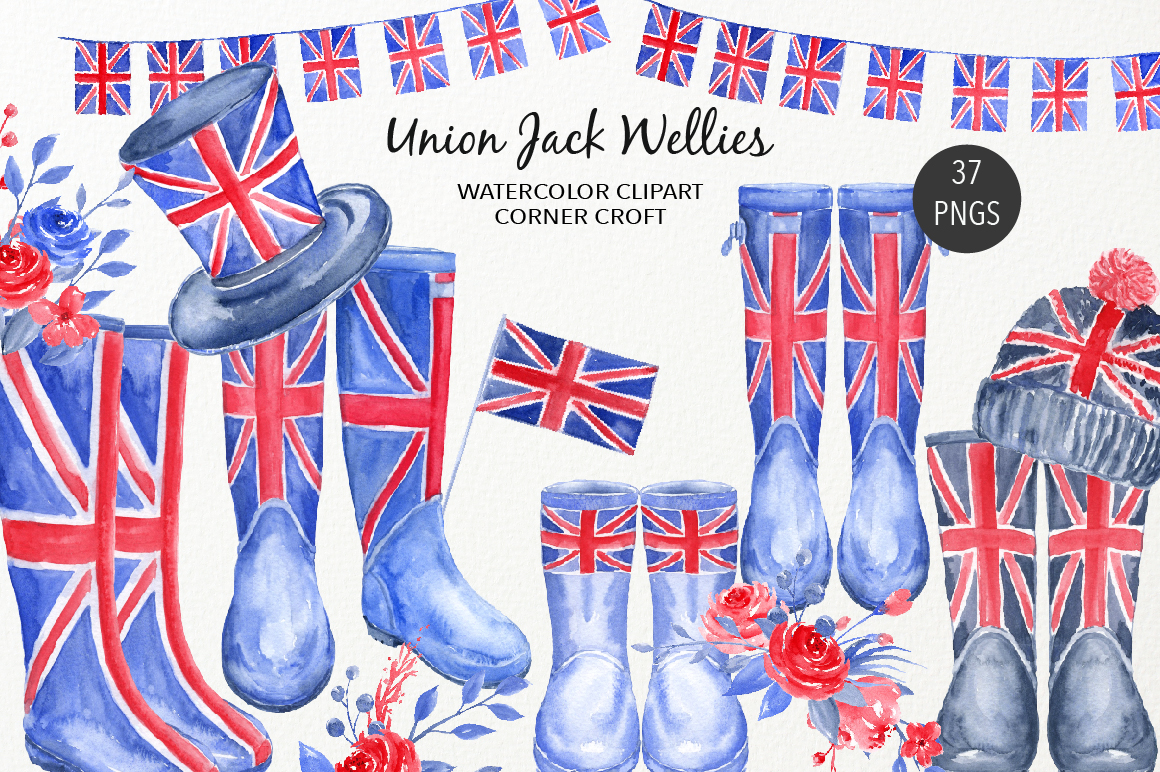 Watercolour Union Jack Welly Illustration, Welly Clipart, Rain Boots  example image 1