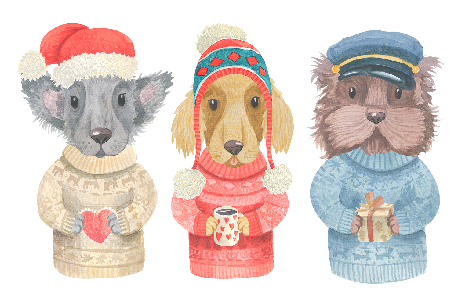 Winter Dogs Watercolor Clipart Collection example image 4