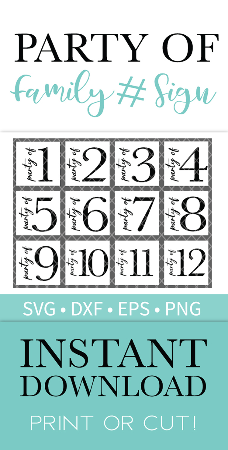 Party of Family Sign SVG DXF EPS PNG Clipart Cut File example image 3