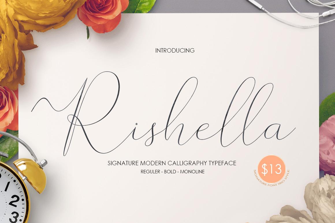 Rishella Signature Font example image 1