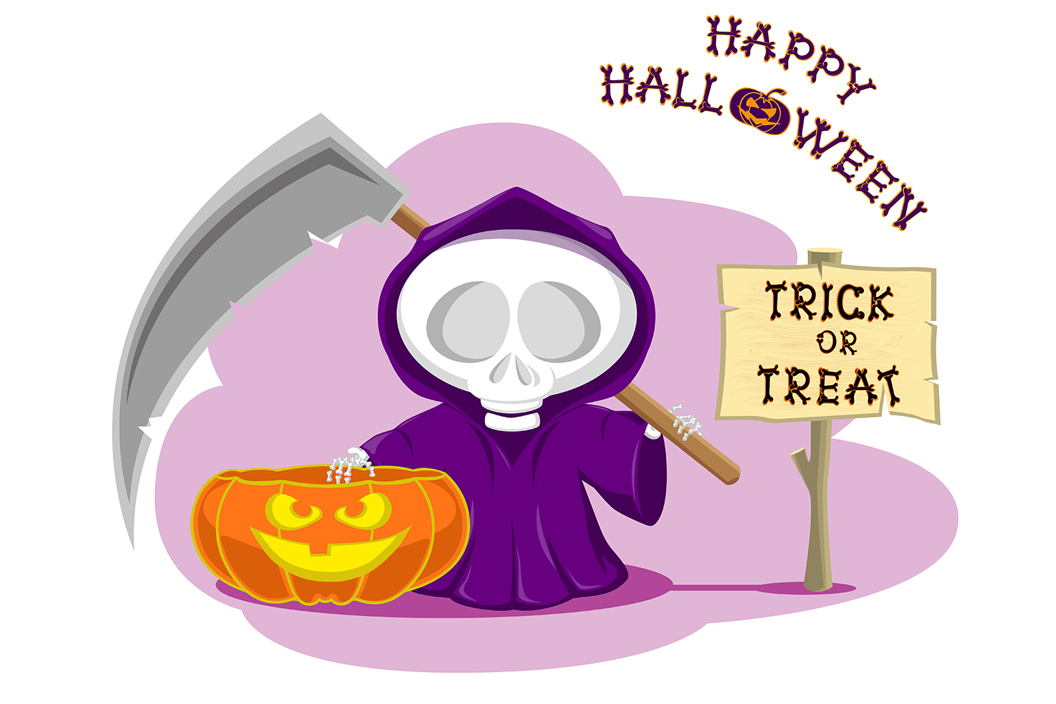 Set of 12 figure funny little death with large scythe and halloween pumpkin. Vector illustration example image 7
