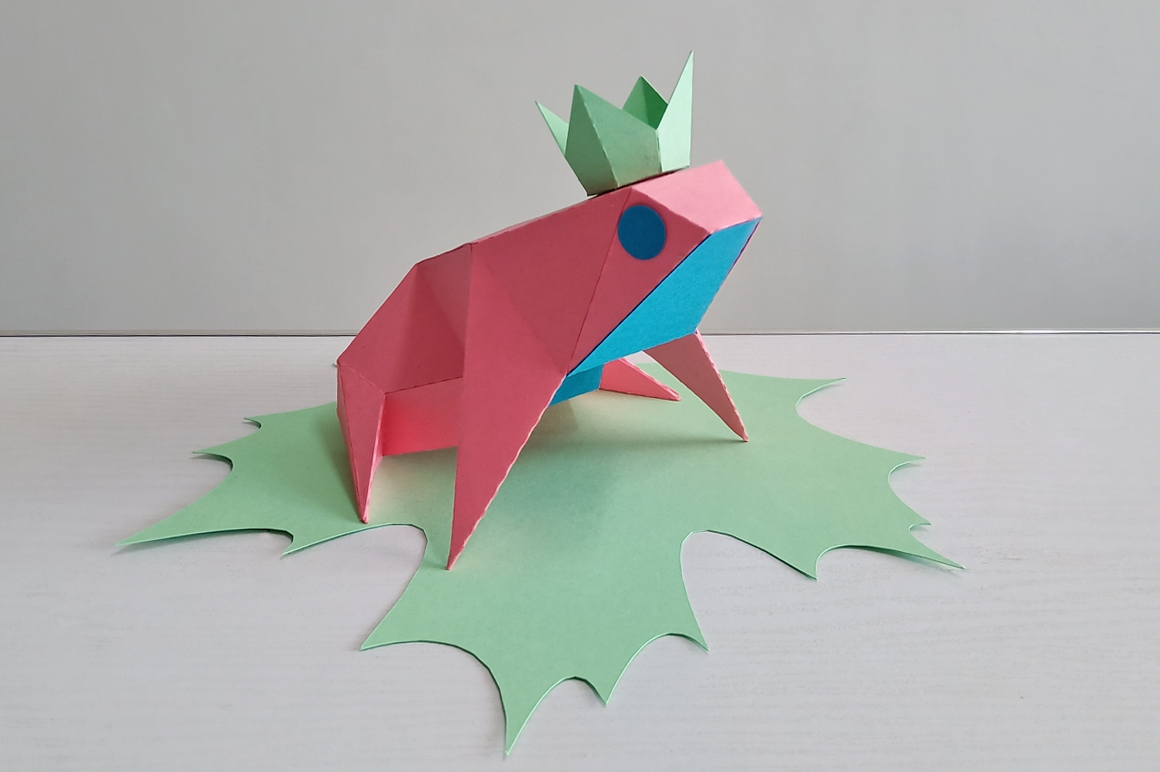 DIY Frog sitting on leaf,digital download,papercraft frog example image 3
