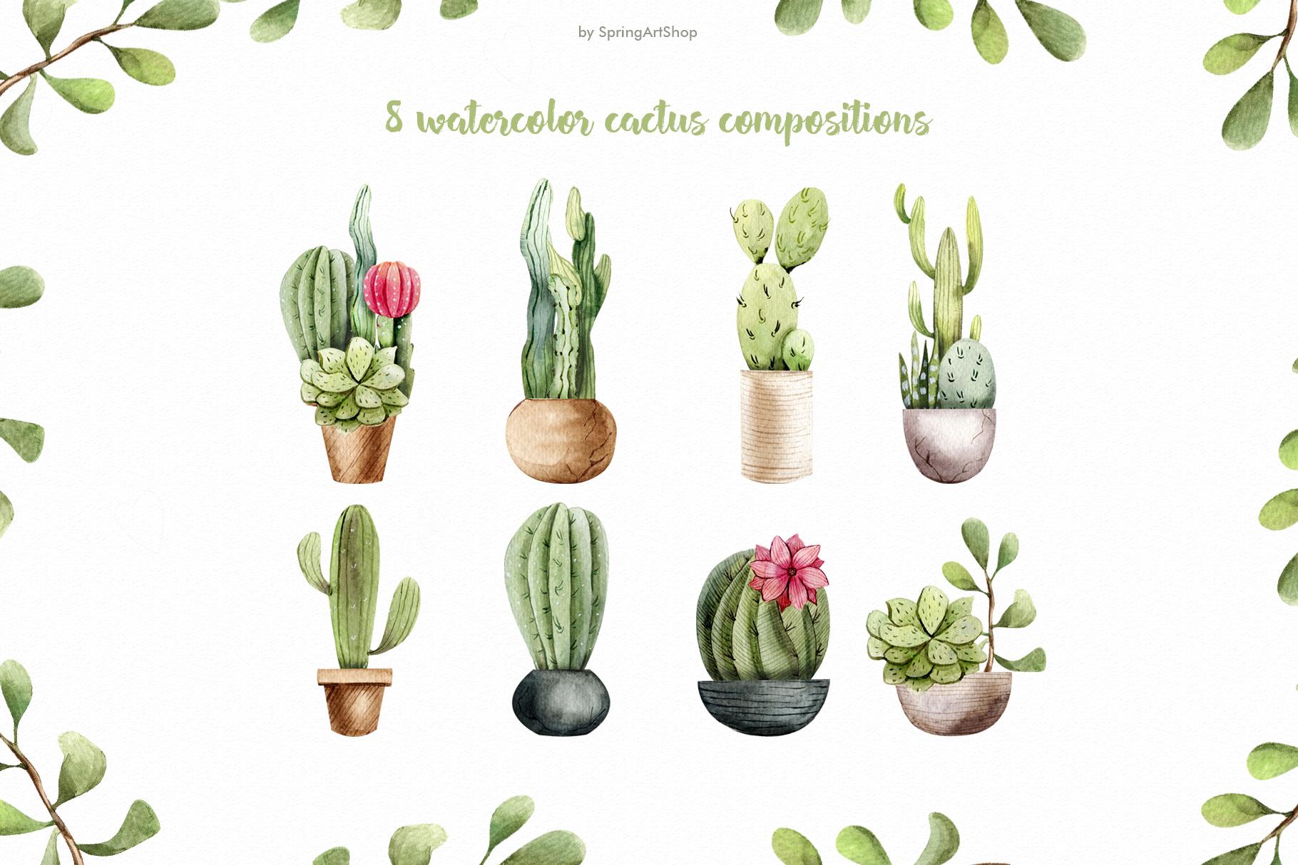 Watercolor Cacti clipart Plants watercolor succulents example image 6