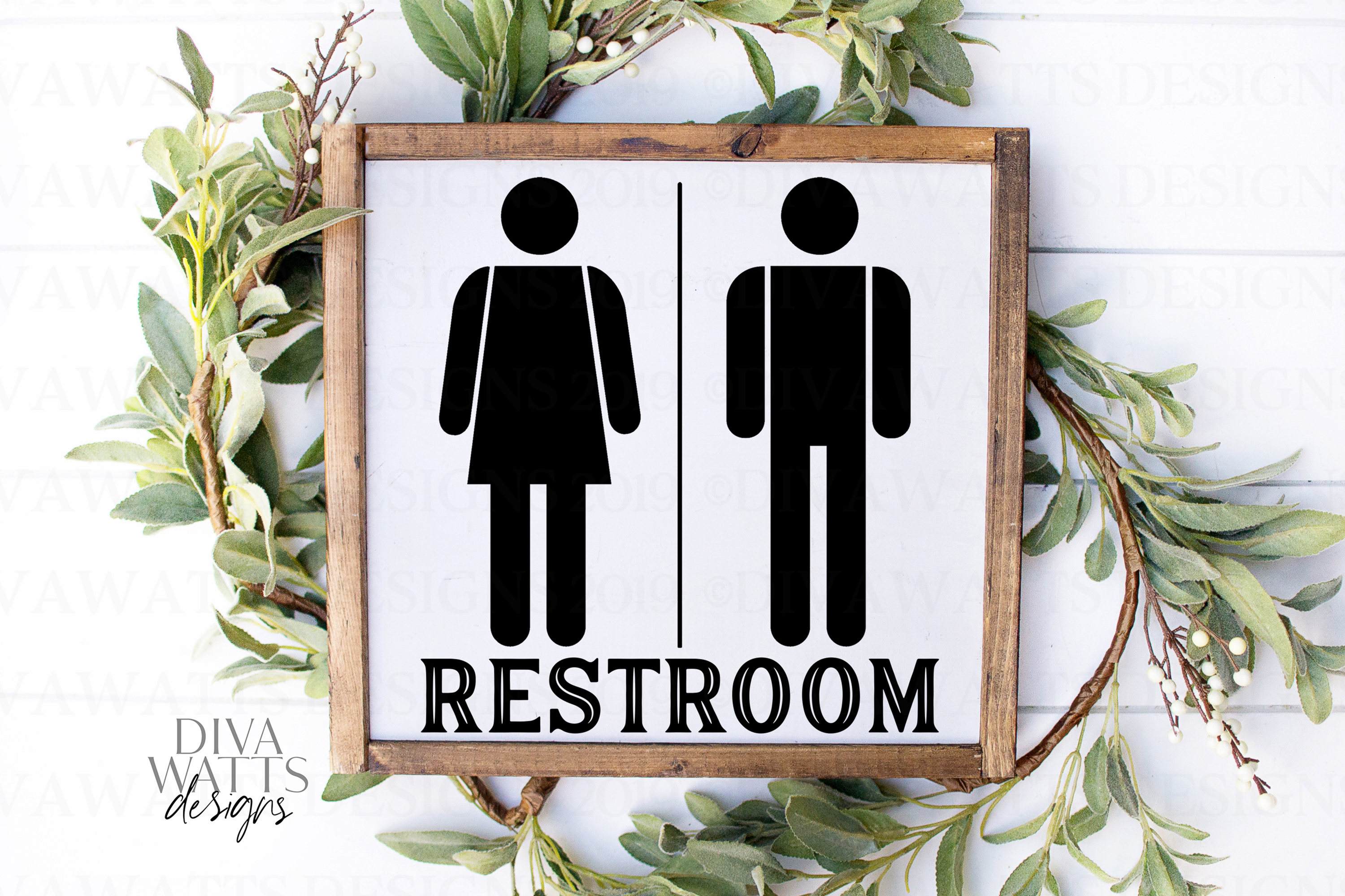 Restroom With Woman Man Figures People - Farmhouse Sign SVG example image 1