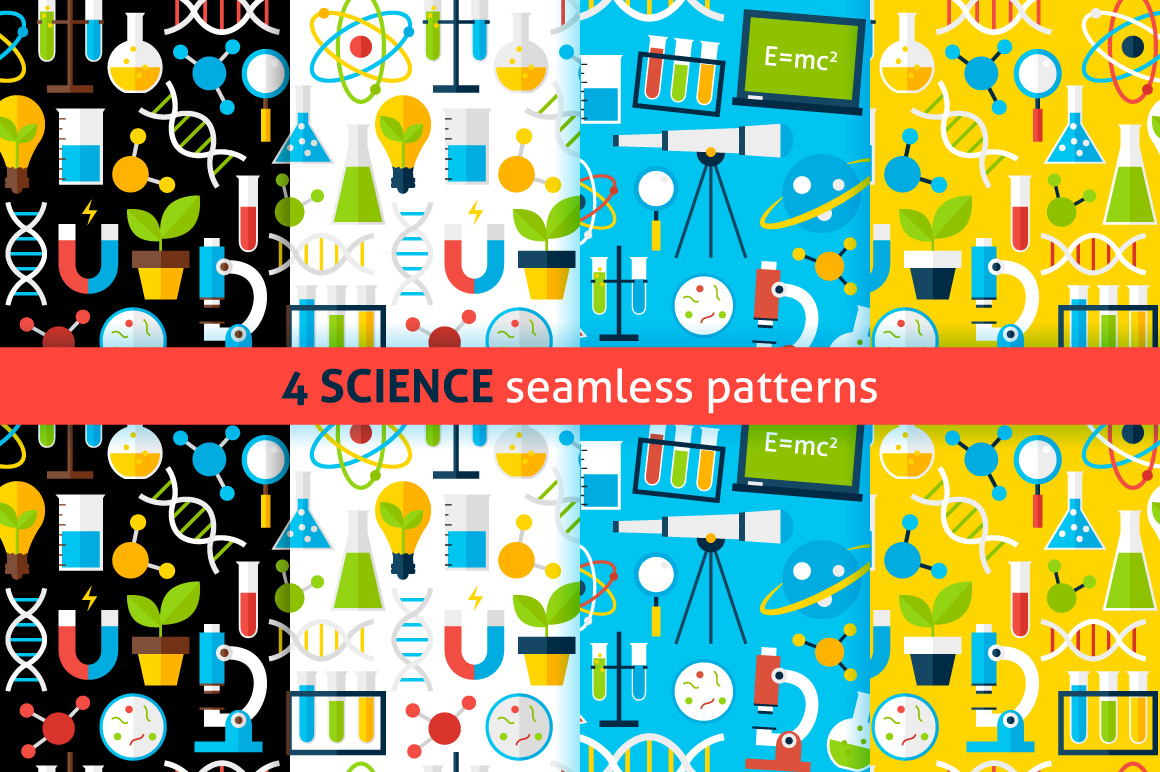 Science Flat Seamless Patterns example image 1