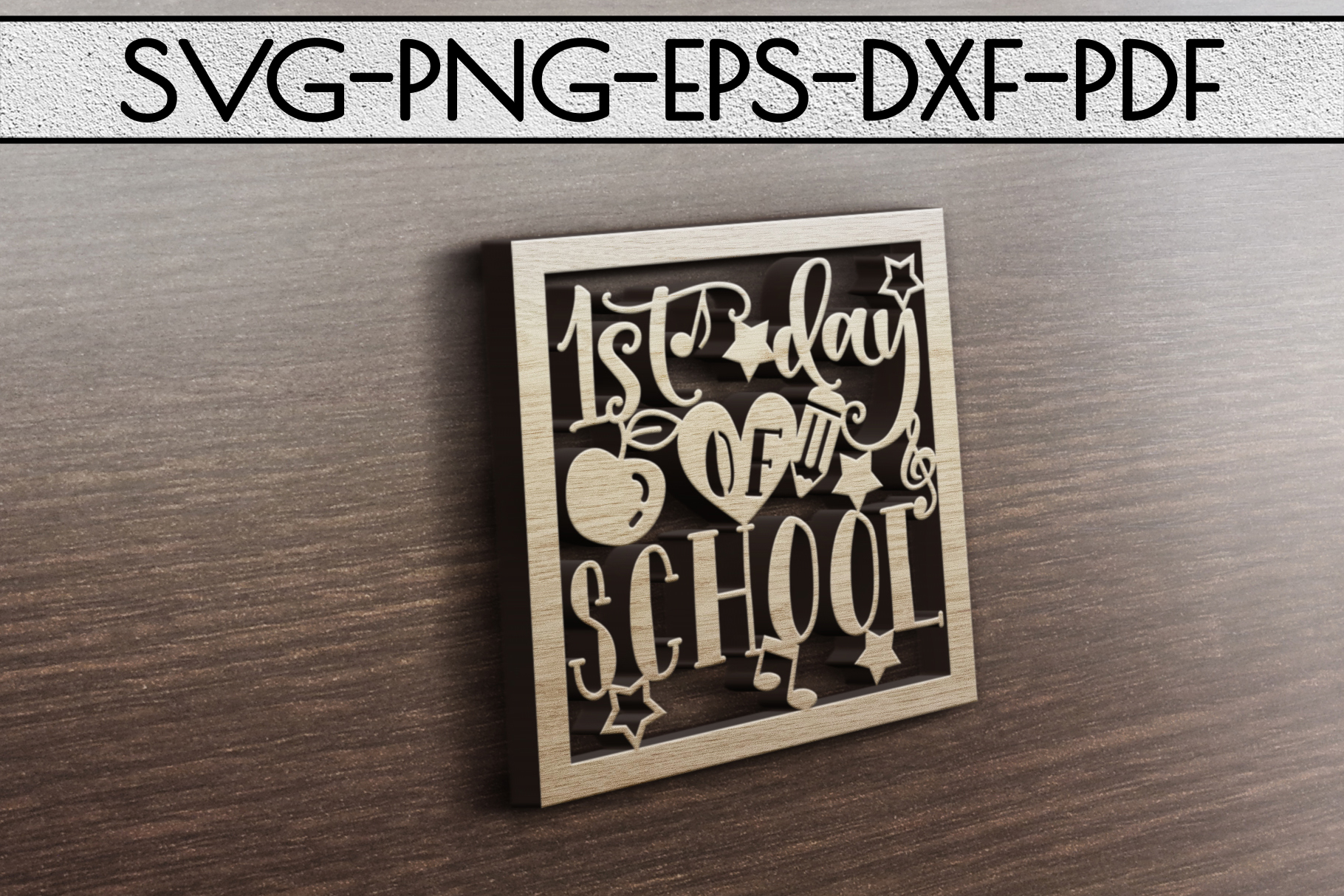 1st Day Of School Paper Cut Template, School SVG, PDF, DXF example image 4