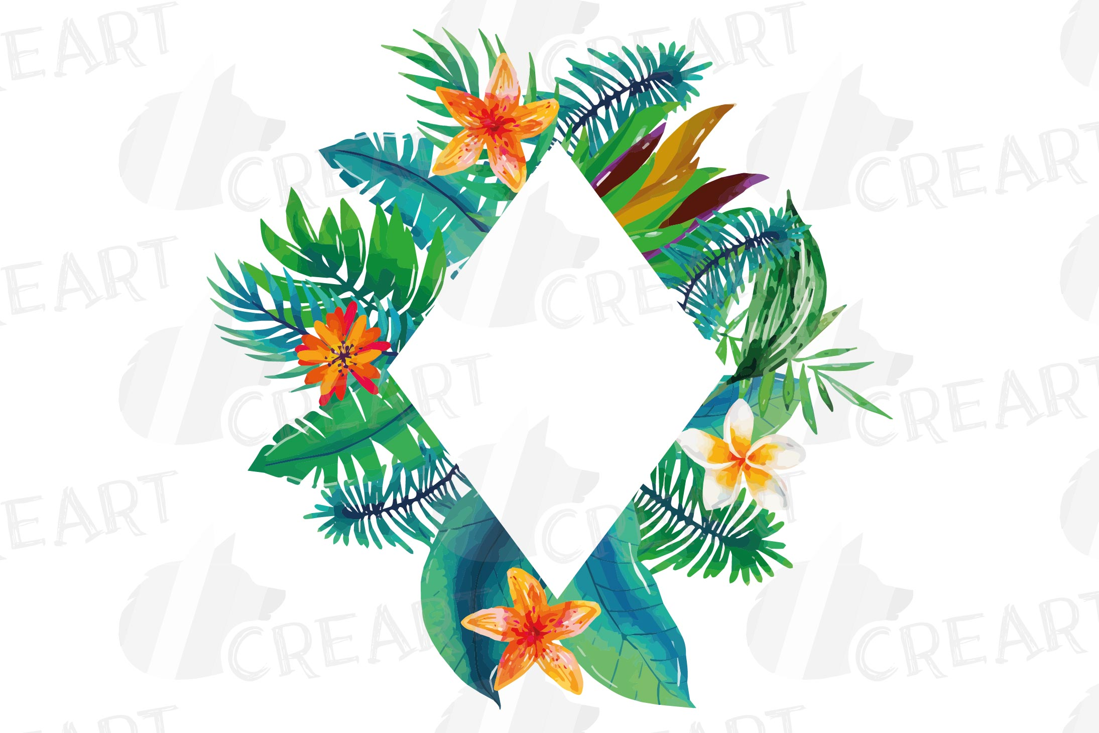 Watercolor tropical navy blue and green exotic floral frames example image 18