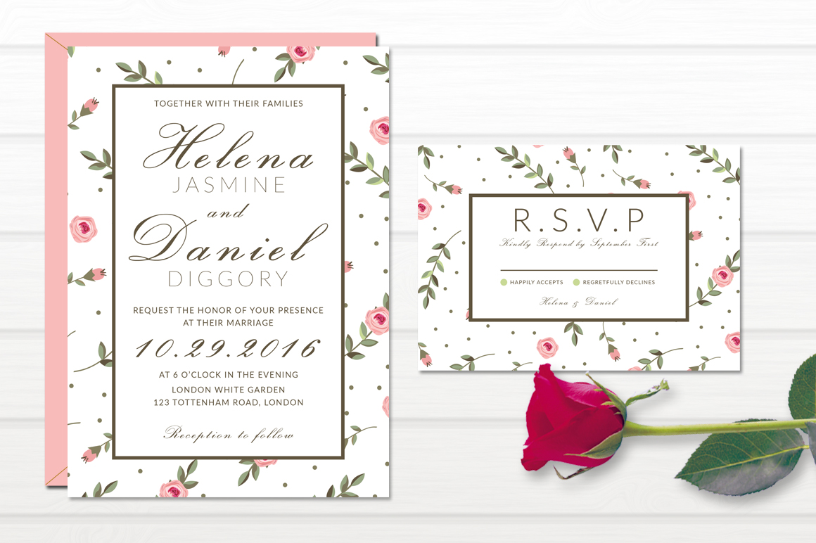 Minimal Floral Wedding Invitation example image 3