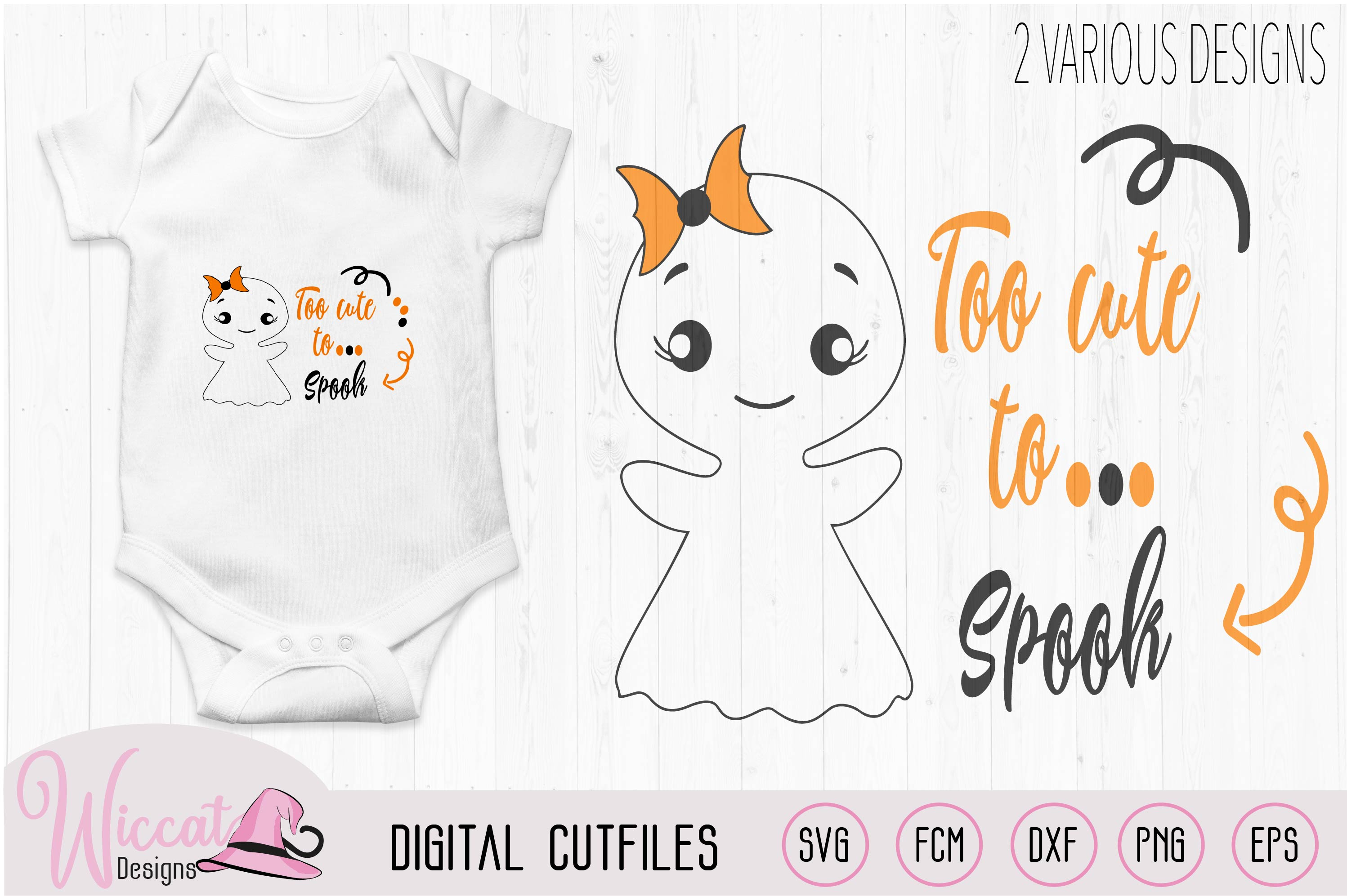 Too Cute to spook, Cute ghost quote example image 2