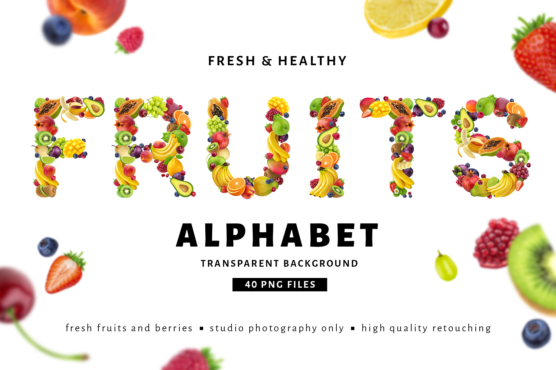 Fruits and berries alphabet, healthy alphabet example image 1